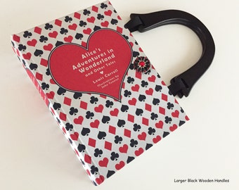 Alice In Wonderland Book Purse - Queen of Hearts Book Clutch - Tea Party Gift - Cheshire Cat Book Cover HandBag