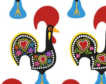 Folk Art Rooster Fabric - O Galo De Barcelos By Fattcheese - Folk Rooster Farm Kitchen Decor Cotton Fabric By The Yard With Spoonflower