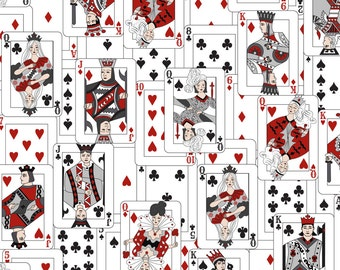 Playing Cards Fabric - The Whole Deck In Bw By Mag-O - Playing Card Games Gambling Casino Cotton Fabric By The Yard With Spoonflower