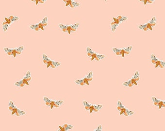 Blush Pink Moth Fabric - Moth Soft Peach By Thistleandfox - Woodland Nursery Decor Cotton Fabric By The Yard With Spoonflower