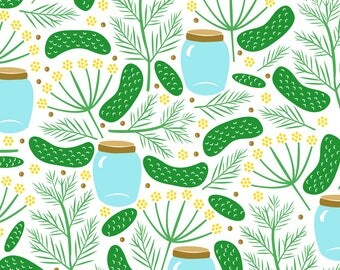 Dill Pickle Fabric - Delightful Dill Pickles By Robyriker - Summer Pickle Kitchen Decor Cotton Fabric By The Yard With Spoonflower