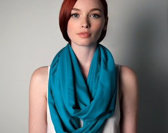 Teal Scarf, Jersey Cotton, Large, Womens, Mens, Circle Scarf