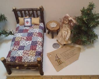 RWB Bedroom set  1 inch Scale 7 pieces Rustic Miniature Dollhouse DH Doll Furniture  Bed Table Log Cabin Woodland Fairy  BJD Puki