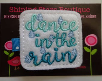 """Hair Accessories - White, Aqua Blue, And Sapphire Blue """"Dance In The Rain"""" Boutique Embroidered Felt Hair Clippie For Girls - Weather Clip"""