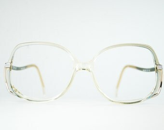 70's Oversized  Powder Blue Fade Squared Eyeglass Frame Fancy Drop Temple Metal Split Hinge Optical Frame France