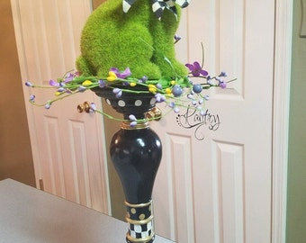 MacKenzie child courtly check ribbon om my custom painted candlestick