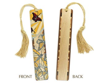 Monarch Butterfly original woodcut art by Jenny Pope Titled Monarchs 2 on Solid Maple Wood Bookmark with Gold Tassel