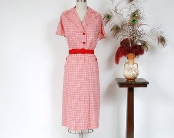 2 DAY SALE - Vintage 1930s Dress - Charming Red, Pink and White Cotton Plaid 30s Day Dress with Bright Red Buttons