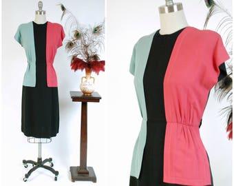 Vintage 1940s Dress -Fantastic Rayon Gabardine Color Block 40s Day Dress with Hot Pink and Aqua Blue on Black