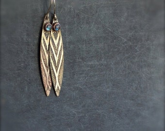 ON SALE Labradorite Feather Earrings - 4mm Gemstone, Etched Gold Brass, Oxidized Patina, Boho Jewelry
