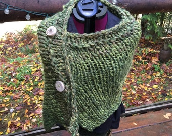 Outlander  Knitted shawl, BFL,mohair, silk handspun  yarn added to make this beautiful shawl of green. Wooden buttons