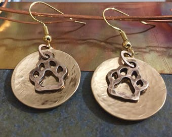 PAWPRINT EARRINGS | Dog Lover Earrings | Pawprint Jewelry | Hammered Earrings | Dog Earrings | Hammered Pet Jewelry | Dog Jewelry | Dogs