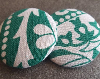 Fabric button earrings, Print button earrings, White and green fabric earrings, St Patricks, Green white earrings, White and green jewelry
