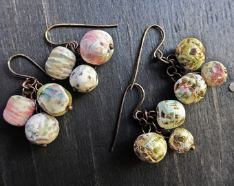 Handmade artisan earrings with art beads by fancifuldevices- Bobble Bauble seres.