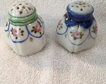 Vintage Blue and Green Floral Handpainted Porcelain Salt/Pepper gold trimmed