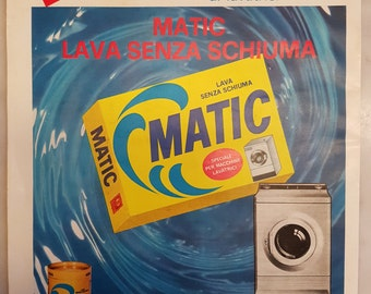 Vintage Italian Paper Ephemera 1964 PALMOLIVE MATIC Laundry Detergent Original Advertisement
