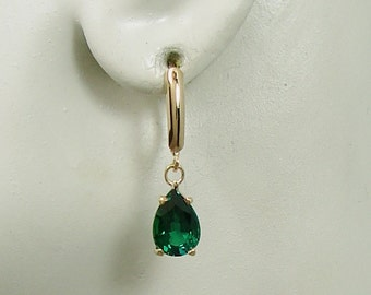 14K Solid Gold Dangle Emerald Green Mount Saint Helen's Pear Drop Lever Back Earrings Classic Secure European Style Wires E14KDLB10x7PMSHLB
