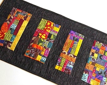 Abstract Quilted Table Runner in Bright and Colorful Fabric, Modern Patchwork Table Decor