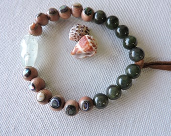 Kona stretchie bead bracelet - abalone, aquamarine, jade, leather & rosewood stretch bracelet - summer jewelry