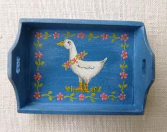 12th scale dollhouse tray - handpainted unique design