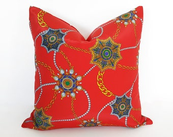Red Boho Pillows, Retro Red Pillows, Bright Red Bohemian Pillows, Red Floor Cushions, Gypsy Cushions, Jewelry Pillow Covers, 20x20