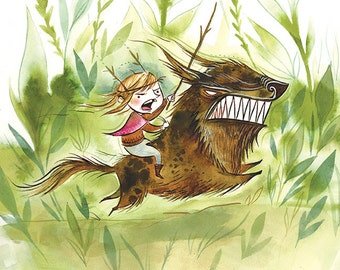 feral child, warrior wolf girl 8.5x11 watercolor print