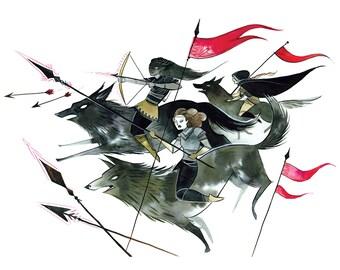 Warrior Women- large 11x17 watercolor print