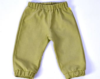 City Pants - pea green - 2 years - fabric & trousers made in england