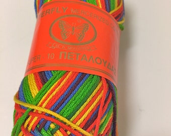 Mercerized Cotton Yarn/Butterfly Mercerized Cotton/dk wt Bright Variated/ Cotton Yarn/Mouzakis Butterfly Cotton/Imported From Greece