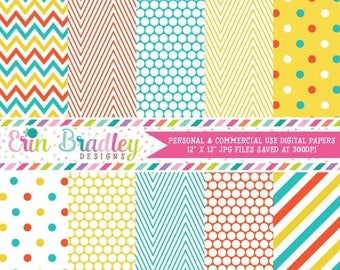 50% OFF SALE Instant Download Printable Paper Pack Blue Orange & Yellow Chevron Stripes and Polka Dot Digital Patterns