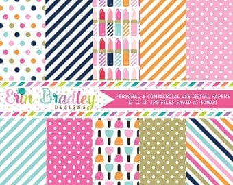 50% OFF SALE Lipstick and Nail Polish Digital Papers Personal & Commercial Use Printable Paper Graphics Polka Dots Stripes Instant Download