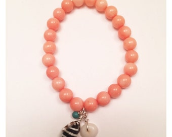 Coral Beaded Bracelet with Turquoise and Shell Accents