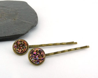 Sparkling hair clips with resin-glitter-cabochons - set of 2 - gift idea - summer hair jewelry - girl romantic MICA jewellery