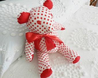 Teddy Bear, Handmade Teddy Bear, OOAK Teddy Bear, Flannel Teddy Bear, Red Polka Dot Teddy Bear, Valetines Day Teddy Bear