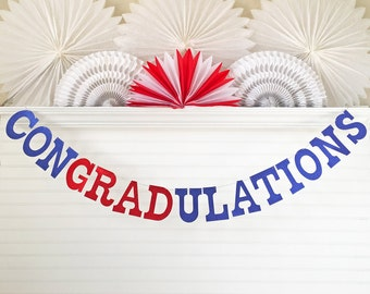 Glitter Graduation Banner - 5 Inch Letters - Congradulations Banner Congratulations Graduation Party Decoration 2017 Grad Party Banner Sign