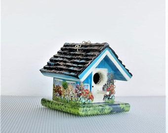 Little Decorative Birdhouse , with Carved Roof , Handcrafted and Hand Painted