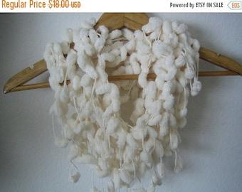 holiday sale Pompom scarf, hand crochet, beige,new, ready to ship