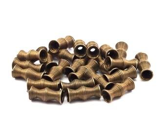 30 Pcs 13x5 Mm Antique Bronze Tone Metal Wire Tube Spacer Bead Sb-09  K147