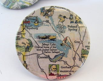 Vintage Travel Map Pin - Badge - Sebago Lake-Poland Spring-Cornish-Gorham-Gray-Fryeburg Maine