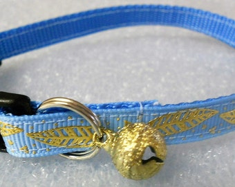 Cat Collar,  Kitten Breakaway Safety Collar - Light Blue with Embossed Gold Foil Feathers, Breakaway Collar