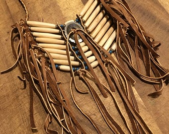 Southwestern bone beaded pendant