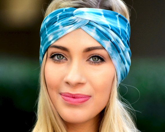 Turban Headband Shibori Tie Dye Boho Chic Yoga Headband Spring Accessories Bandeau Headband Twist Turban Blue Tiedye Gift For Her Women's