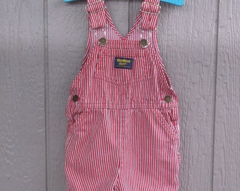 Childrens Retro Denim Red Stripe OshKosh Short Overalls Size 3T