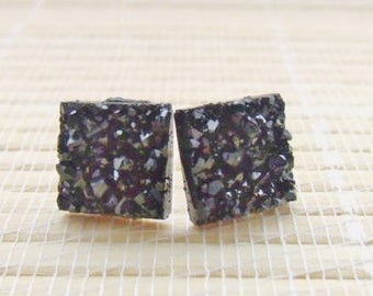 Black Druzy Faux Studs Gold Plated 12mm