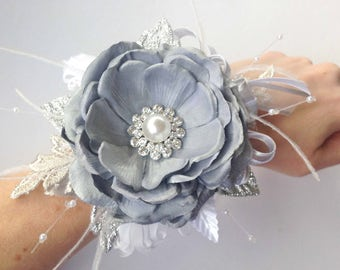 Prom Silver & White Gatsby Wrist Corsage with matching Boutonniere