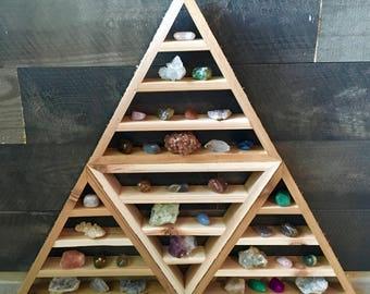 The Ultimate Triangle Shelf, Four Shelves in One, RoughSawn Pyramid Shelves, Extra Large Triangle Shelf, Meditation, Merkaba