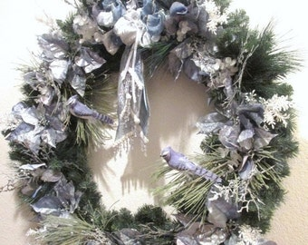 SALE X Large Blue Jay Christmas Wreath or home decoration in Blue and Sage Green with elaborate Victorian beaded fringe and Fancy Trimmed bo