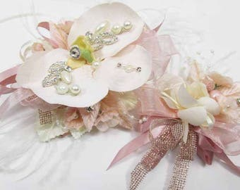 Blush Pink Rose Gold Orchid Wrist Corsage and Boutonniere Prom Set with Pearls, Rhinestones on pearl lace bracelet with briolette drop