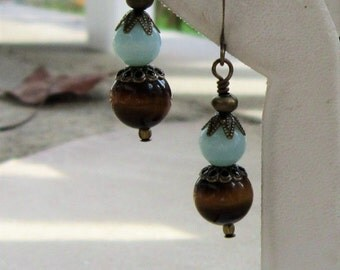 Turquoise and Brown Earrings, Gifts for Her, Vintage Looking, Teacher Gift, Hard to Buy For, Gift for a Friend, Antiqued Dangles, Blue Skies