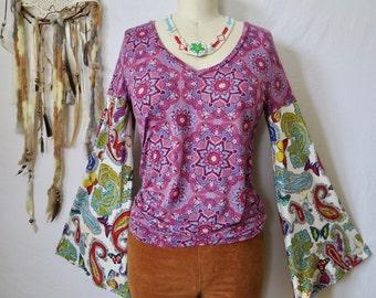 Mandala Butterfly and Paisley VNeck Print Eco Friendly Boho Hippie Bell Sleeve Hippie Top Shirt Upcycled Eco Friendly Tee Tshirt Size Medium